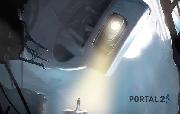 Picture light, people, robot, the portal, portal, glados, portal 2, glados