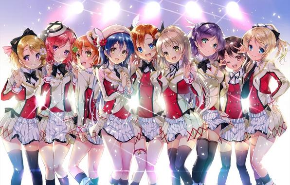Picture light, smile, girls, stockings, anime, art, form, yazawa nico, love live! school idol project, sonoda …