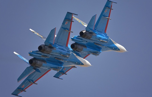 Picture fighters, pair, Flanker, Su-27