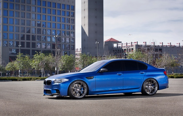 Picture blue, the building, Windows, BMW, BMW, drives, side view, f10, monte carlo blue
