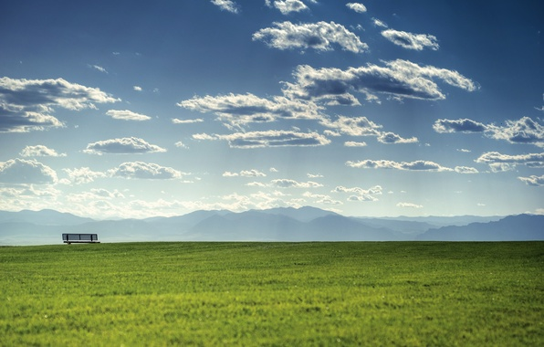 Picture greens, summer, the sky, grass, clouds, light, mountains, bench, nature, landscapes, mountain, spring, dal, cloud, …