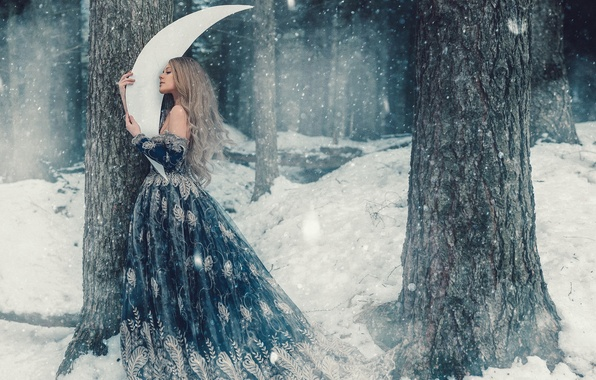 Picture winter, forest, girl, snow, trees, hair, cute, a month, dress, fairy, snowfall, fabulously, Wallpaper from ...