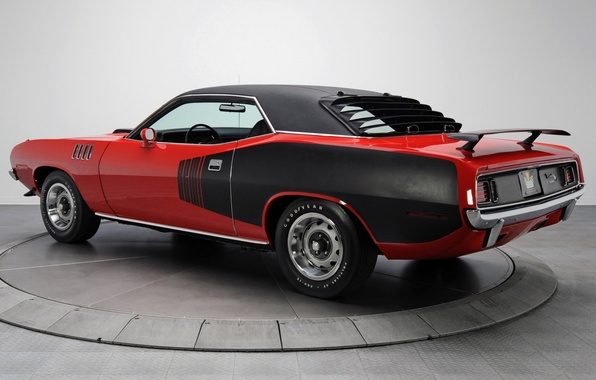 Picture red, background, coupe, 1971, rear view, Plymouth, Muscle car, Cuda, Muscle car, Hemi, Plymouth, Where, …