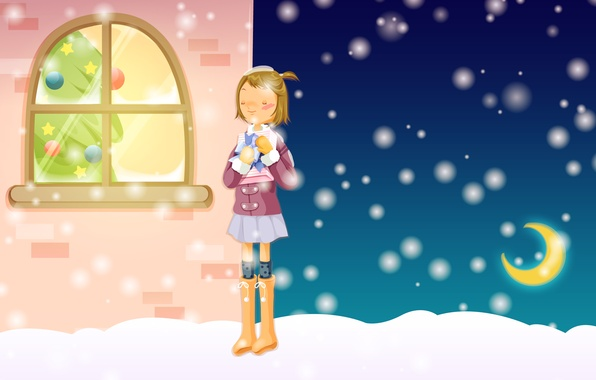 Picture winter, dream, snow, comfort, gift, street, new year, Christmas, frost, girl, tree