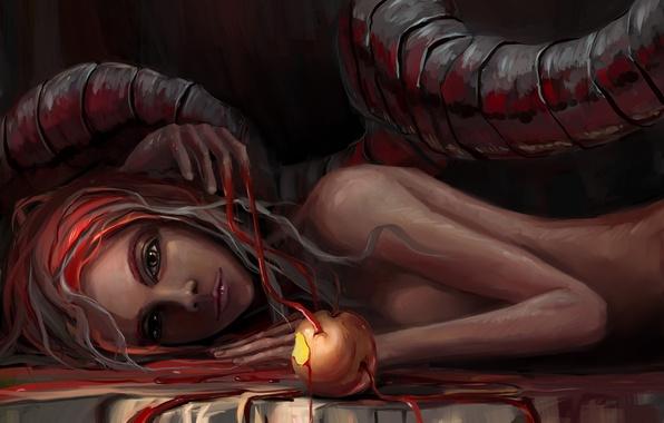 Picture blood, Apple, art, snakes, Eva