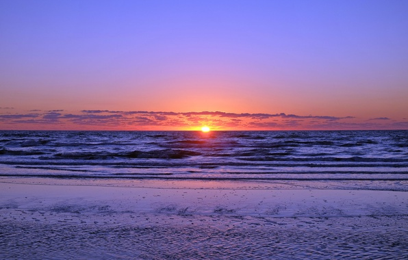 Picture waves, beach, seascape, clouds, morning, sunrise, dawn, seaside, horizon, wind
