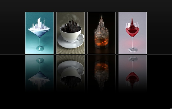 Picture glass, reflection, tea, glass, coffee, ice cream, black background, drinks