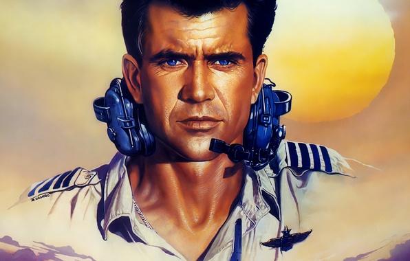 Picture the sky, the sun, figure, headphones, art, pilot, Vietnam, poster, Mel Gibson, Mel Gibson, Air …