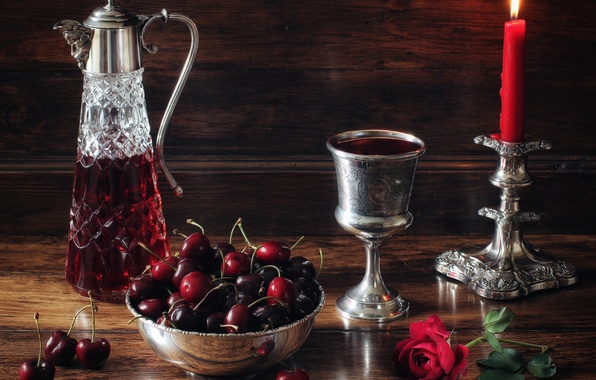 Picture flower, style, berries, wine, glass, rose, candle, still life, cherry, candle holder, decanter