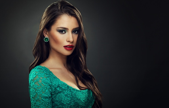 Picture look, girl, background, hair, earrings, makeup, lipstick, beautiful