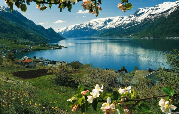Picture the sky, grass, snow, flowers, mountains, lake, house, spring