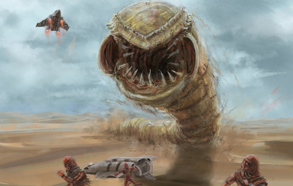 Picture sand, the plane, people, transport, desert, ships, art, dunes, attack, the worm, Xai-Hulud, Chronicles Of …