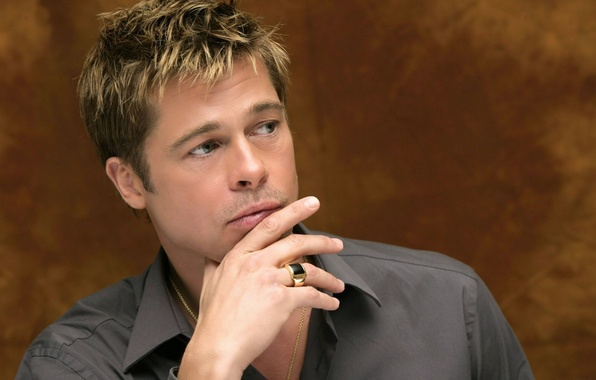 Picture look, ring, actor, male, Brad Pitt, shirt, grey, celebrity, Brad Pitt, producer