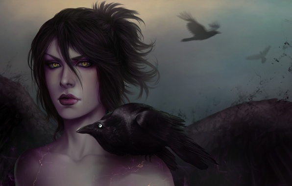 Picture girl, MAG, witch, crow, dragon age, morrigan