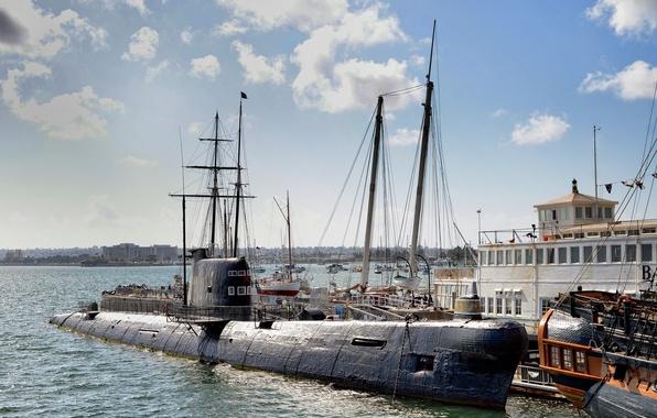 Picture yachts, pier, CA, Museum, California, San Diego, San Diego, San Diego Bay, Maritime Museum, submarine …