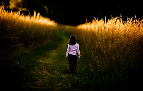 Picture road, field, grass, children, the way, mood, thickets, mood, girls, girl, walk, baby, child, kids, …
