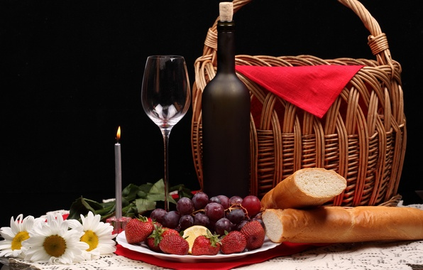 Picture flowers, berries, basket, bottle, chamomile, strawberry, bread, grapes, candle, glass
