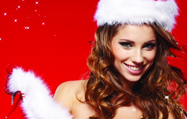 Picture look, girl, smile, gloves, maiden, brown hair, cap, curls