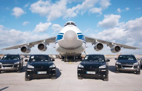 Picture the sky, clouds, Porsche, Airport, the plane, Porsche, sky, aircraft, clouds, Cayenne, Cargo, An-124, Ruslan, …