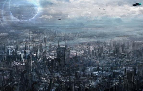 Picture the city, future, transport, art, megapolis, cloudminedesign