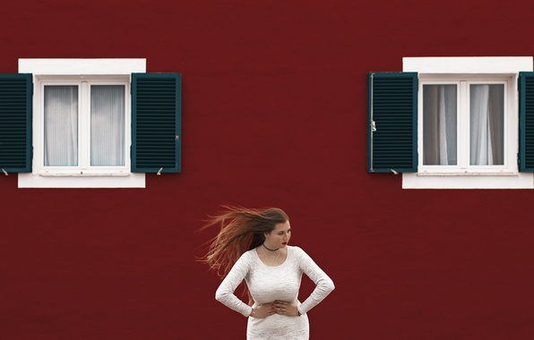 Picture girl, face, background, the wind, hair, Windows, dress