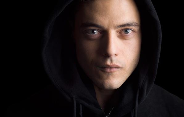 Picture look, face, hood, the series, black background, closeup, TV Series, Rami Malek, Rami Malek, Mr. …