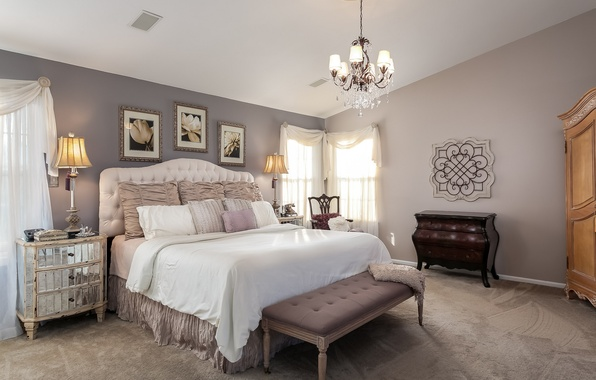 Picture design, style, lamp, bed, pillow, pictures, bedroom, chest