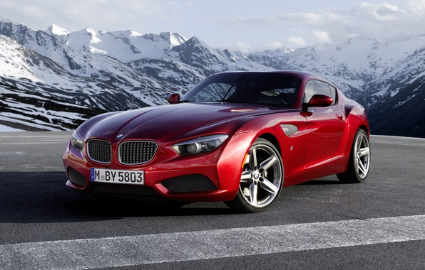 Picture the sky, red, coupe, BMW, BMW, Coupe, the front, Zagato, Zagato, mountains.clouds