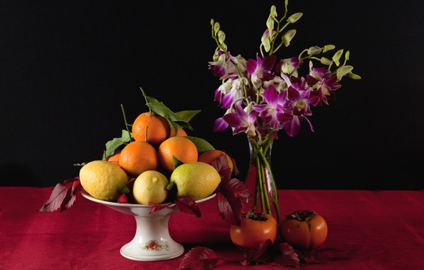Picture flowers, lemon, orange, vase, fruit, still life, persimmon