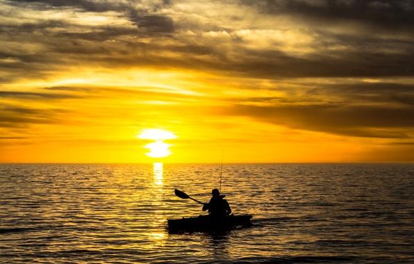 Picture sunset, river, boat, fishing, fisherman