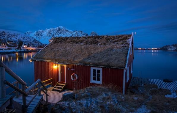 Picture winter, snow, mountains, night, lights, Bay, Norway, Bay, houses, Norway, Lofoten, Pure, Lofoten, Gravdalsbukta, Nordland