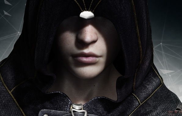 Picture girl, face, rendering, hood, freckles, assassin