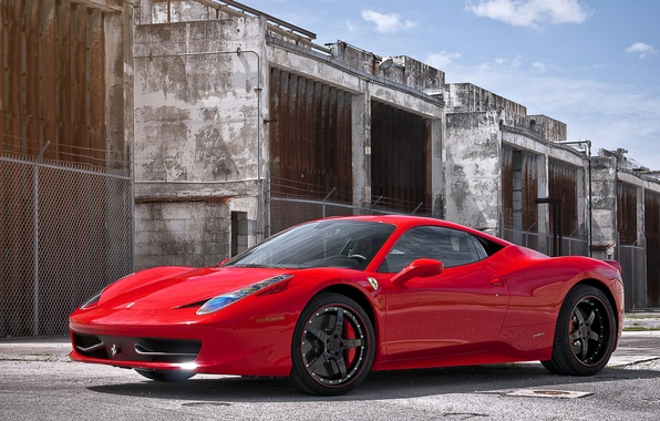 Picture red, red, ferrari, Ferrari, Italy, 458 italia, black rims