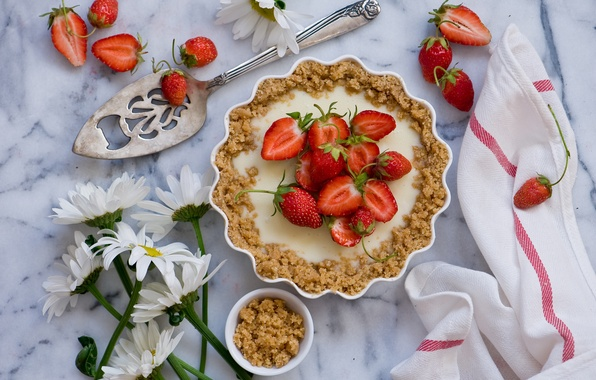 Picture flowers, berries, chamomile, towel, strawberry, pie, still life, blade, Strawberry pie