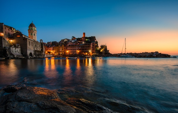 Picture lights, sea, sunset, italy, vernazza