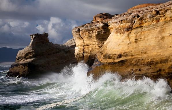 Picture sea, wave, nature, rocks, element, surf, rock