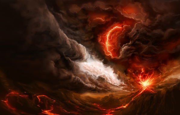 Picture the storm, clouds, fire, lightning, smoke, mountain, storm, the volcano, art, the eruption, lava