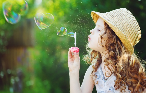 Picture nature, children, childhood, sweetheart, child, spring, heart, blonde, bubble, happy, nature, beautiful, beautiful, bubble, hearts, …