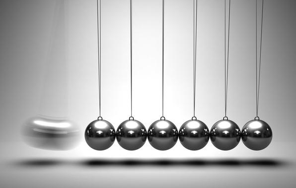 Picture movement, mechanics, physics, metal balls, newton's cradle