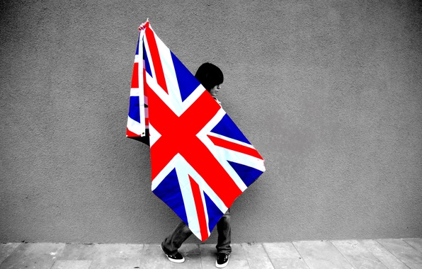 Picture girl, wall, flag, girl, wall, britain flag