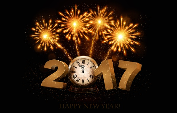 Picture time, lights, background, holiday, arrows, black, graphics, watch, new year, salute, figures, fireworks, gold, dial, …
