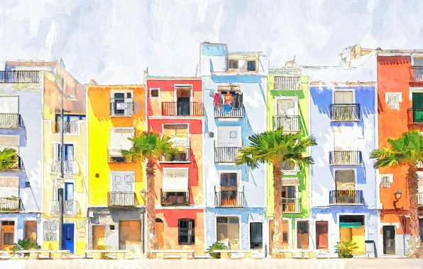 Picture the city, figure, home, watercolor
