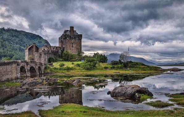 Picture the sky, grass, clouds, mountains, bridge, river, stones, castle, Scotland