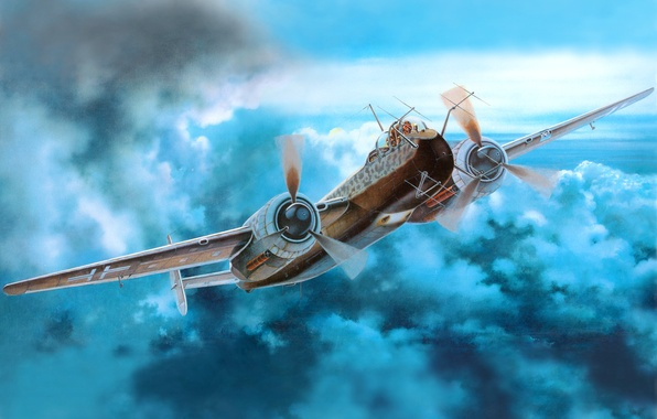 Picture the sky, the plane, figure, art, multipurpose, German, twin-engine, WW2, Apaдo Ar 240