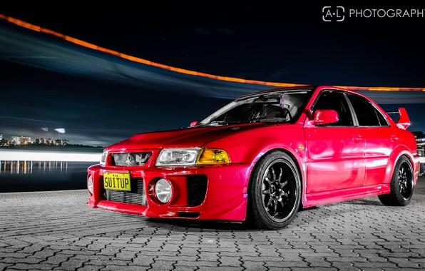 Picture night, red, red, mitsubishi, lancer, evolution, evo, Lancer, Mitsubishi