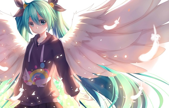 Picture girl, smile, wings, angel, anime, feathers, art, vocaloid, hatsune miku, Akabane