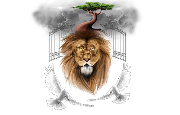 Picture clouds, birds, clouds, tree, minimalism, Leo, pigeons, the gates, lion