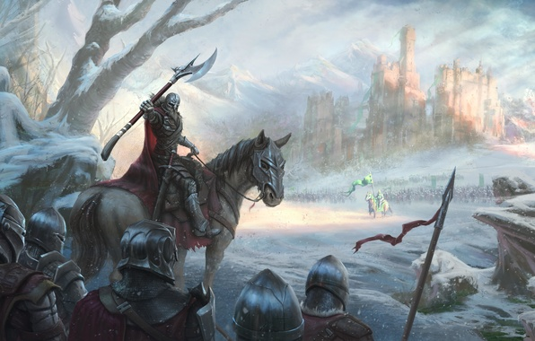 Picture cold, winter, snow, castle, horse, army, battle, knight, king