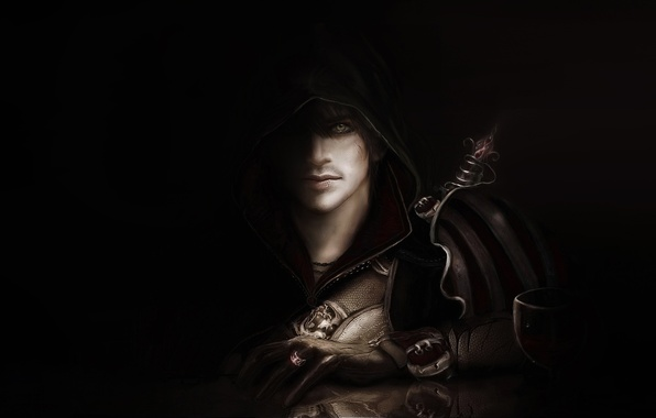 Picture hood, male, black background, cloak, this is not Ezio, Assassin's creed II