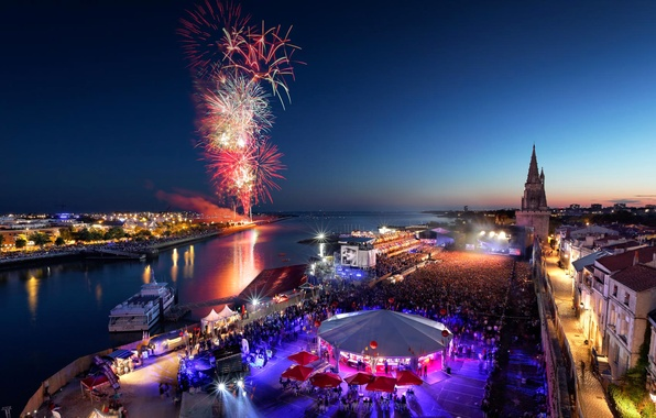 Wallpaper night, France, salute, fireworks, La Rochelle, Poitou-Charentes, Independence Day